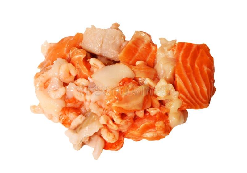 Fundo do branco da mistura do chowder do marisco cru imagem de stock