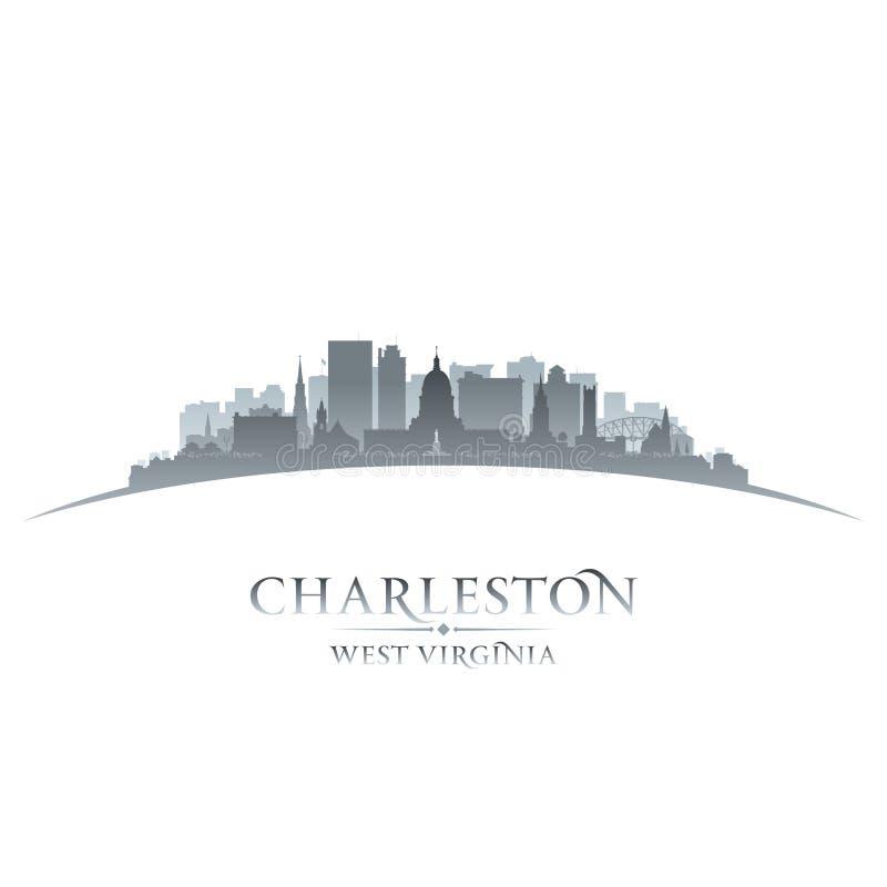 Fundo do branco da silhueta da cidade de Charleston West Virginia ilustração stock