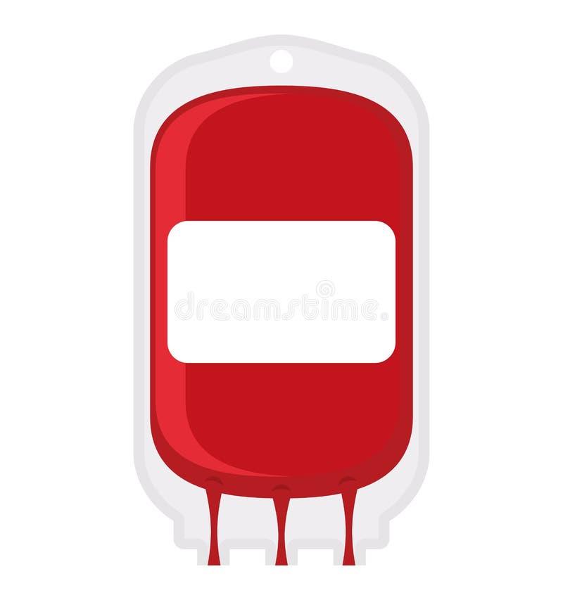 Fundo do branco do saco da doação de sangue Transfusão do sangue médico ilustração royalty free