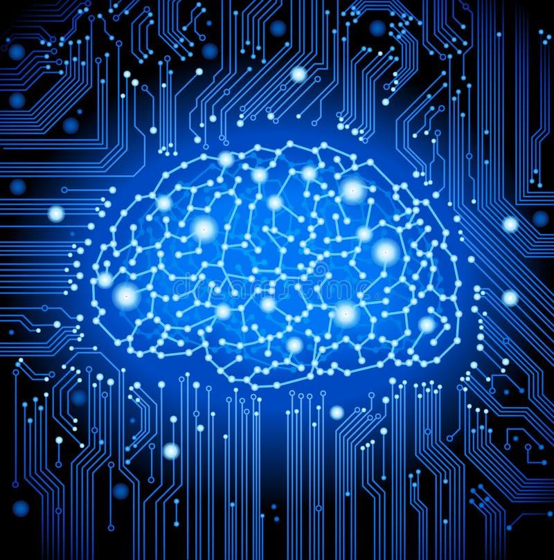 fundo do cérebro da placa de circuito ilustração do vetor