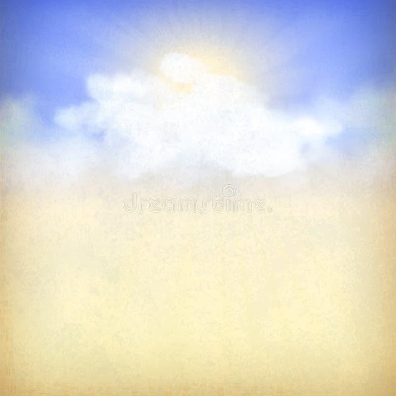 Fundo do céu azul com nuvens e o sol brancos ilustração royalty free