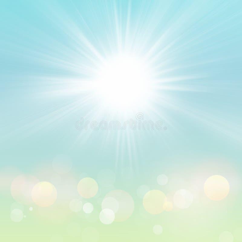 Fundo do céu azul de Sun Bokeh do verão da mola com natureza verde ilustração stock