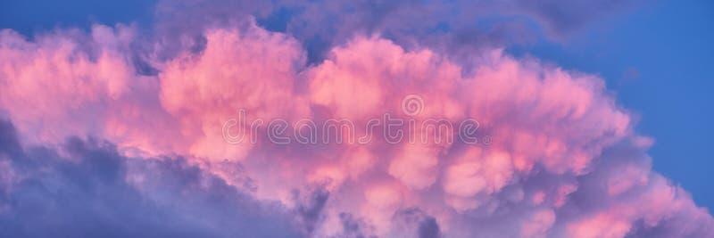 Fundo do céu com as nuvens inchados do rosa e roxo coloridos após a tempestade do verão imagens de stock
