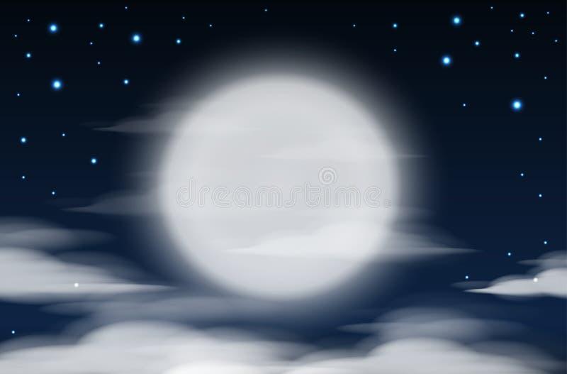 Fundo do céu da noite com Lua cheia, nuvens e estrelas Noite do luar ilustração royalty free