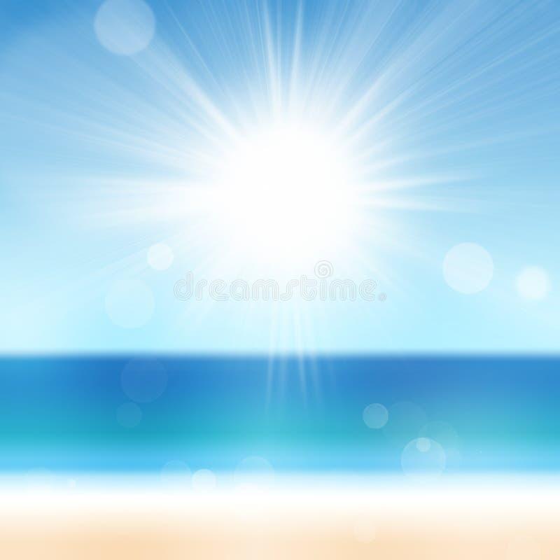 Fundo do céu do mar do oceano da praia das férias de verão com Sun Conceito do curso das férias fotos de stock royalty free