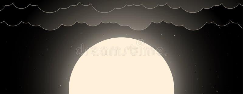 Fundo do céu noturno com lua, estrelas e nuvens ilustração do vetor