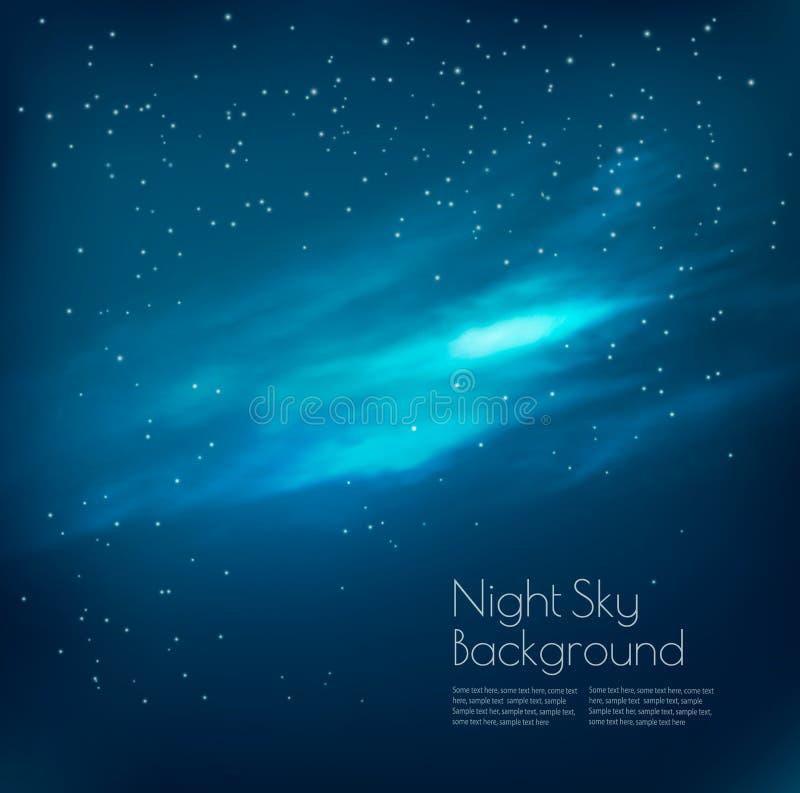 Fundo do céu noturno com nuvens e estrelas ilustração royalty free