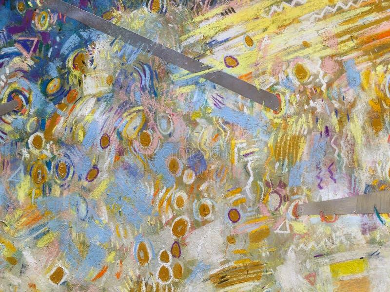 Fundo do céu do ouro do expressionismo Textura de pintura na moda ilustração do vetor