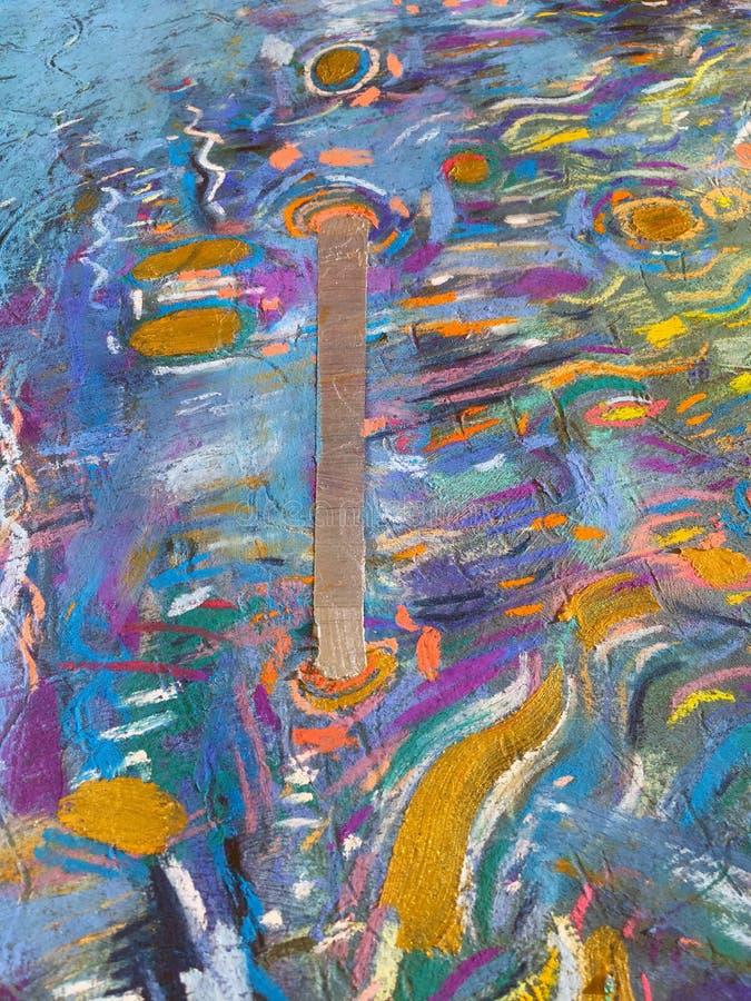 Fundo do céu do ouro do expressionismo Textura de pintura na moda ilustração royalty free