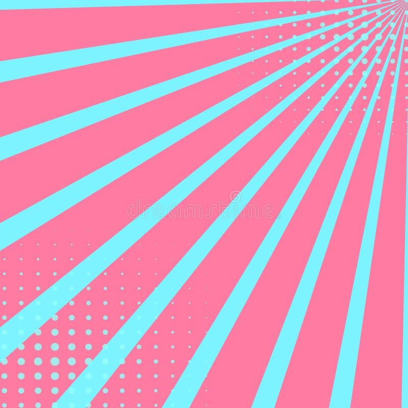 Fundo do céu do pop art na cor carmesim Os pontos e os raios são azuis Estilo cômico de imitação do vetor ilustração royalty free