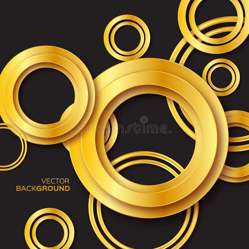 Fundo do círculo e do anel da folha de ouro do metal ilustração stock