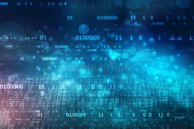 Fundo do código binário, fundo abstrato da tecnologia de Digitas, fundo da tecnologia do Cyber com códigos binários ilustração royalty free