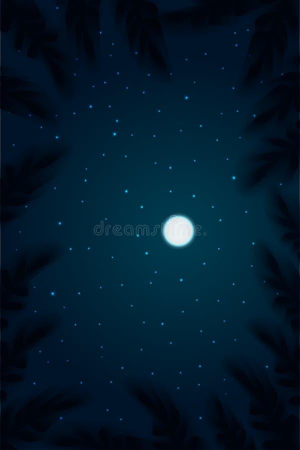 Fundo do c?u noturno As partes superiores veem árvores com a profundidade da lua do campo no céu e na estrela ilustração do vetor