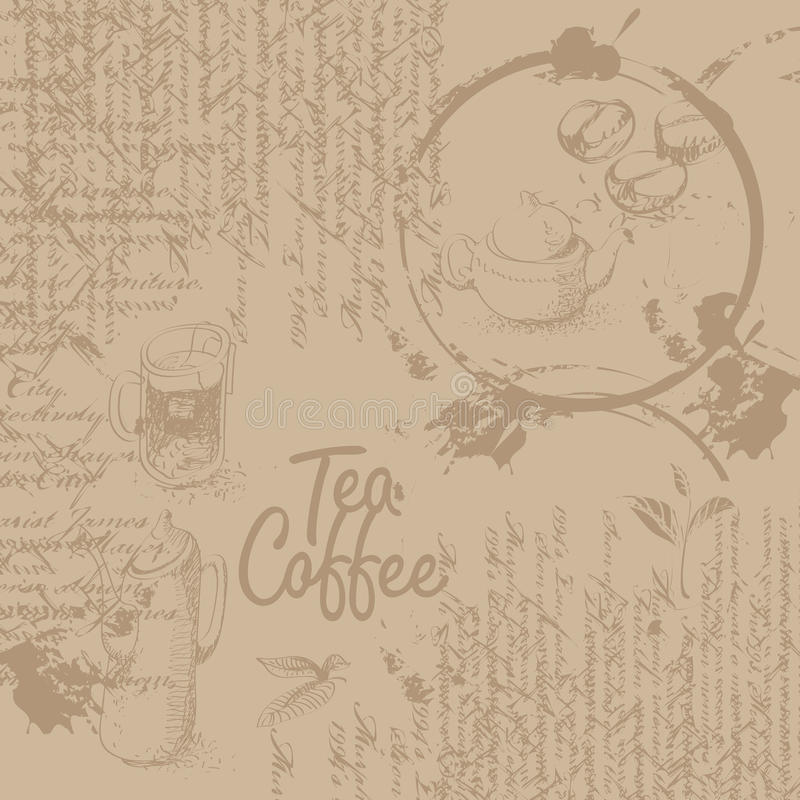 Fundo do café com textura ilustração stock
