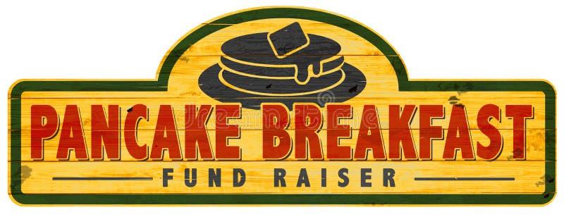 Fundo do café da manhã da panqueca - sinal Logo Art do raiser ilustração stock