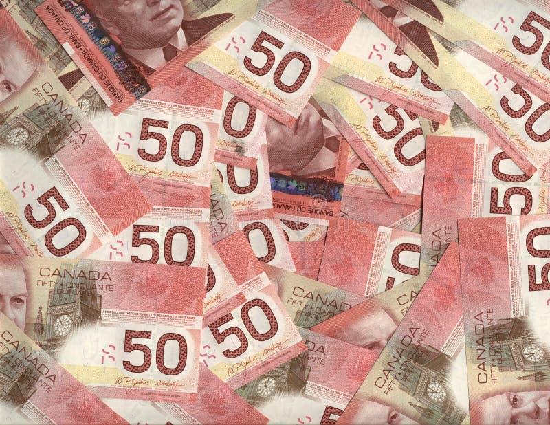 Fundo do canadense cinqüênta contas de dólar fotografia de stock royalty free