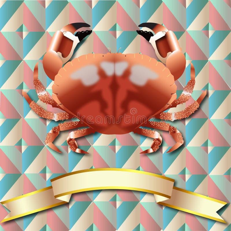 Fundo do caranguejo e fita realísticos do ouro ilustração stock