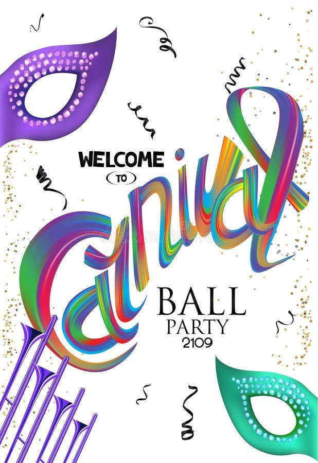 Fundo do carnaval com letras, as trombetas, máscaras e confetes coloridos ilustração do vetor