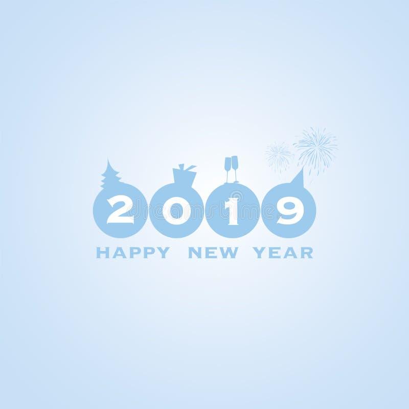 Fundo do cartão do ano novo - 2019 ilustração do vetor