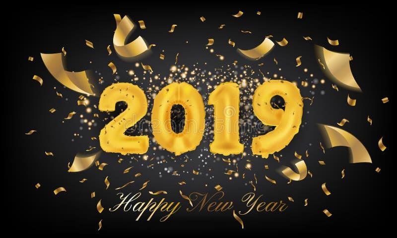Fundo do cartão do ano 2019 novo feliz Balão 2019 Vecto ilustração stock
