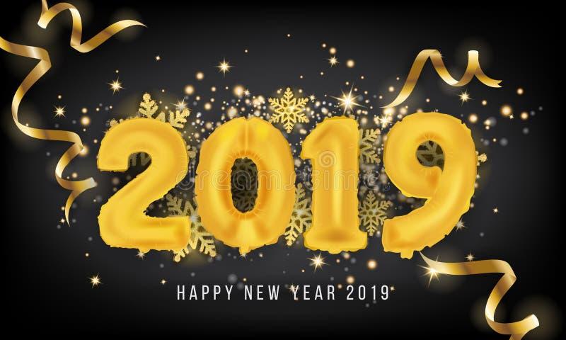 Fundo do cartão do ano 2019 novo feliz Balão 2019 Vecto ilustração royalty free