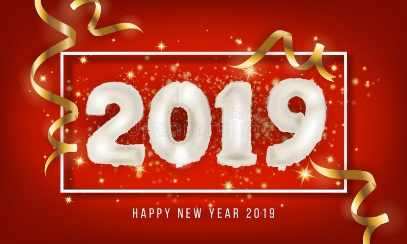 Fundo do cartão do ano 2019 novo feliz Balão 2019 Vecto ilustração do vetor