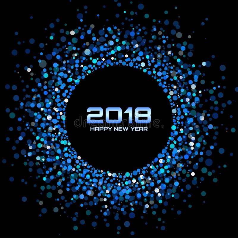 Fundo do cartão do ano novo feliz 2018 do vetor O disco brilhante azul ilumina o quadro de intervalo mínimo do círculo ilustração do vetor