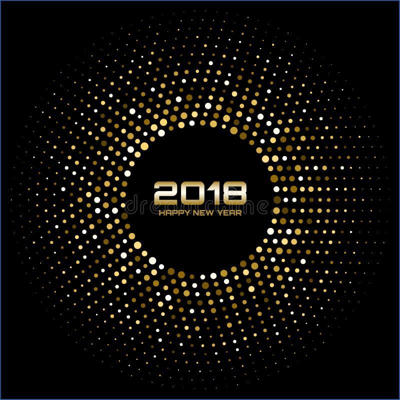 Fundo do cartão do ano novo feliz 2018 do vetor O disco brilhante do ouro ilumina o quadro de intervalo mínimo do círculo ilustração stock