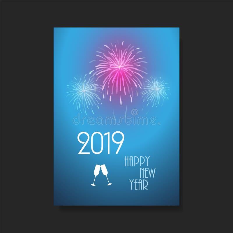 Fundo do cartão do ano novo - projeto do inseto com fogos de artifício - 2019 ilustração royalty free