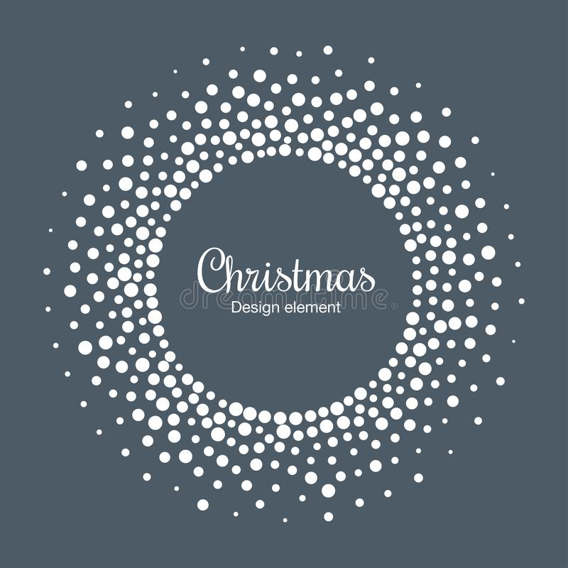 Fundo do cartão do ano novo 2019 Quadro do círculo do floco da neve O floco de neve redondo de intervalo mínimo pontilhou o quadr ilustração royalty free