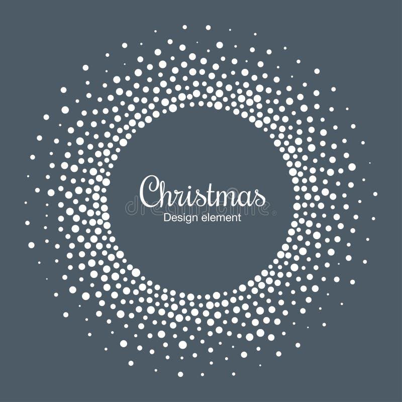 Fundo do cartão do ano novo 2019 Quadro do círculo do floco da neve O floco de neve redondo de intervalo mínimo pontilhou o quadr ilustração do vetor