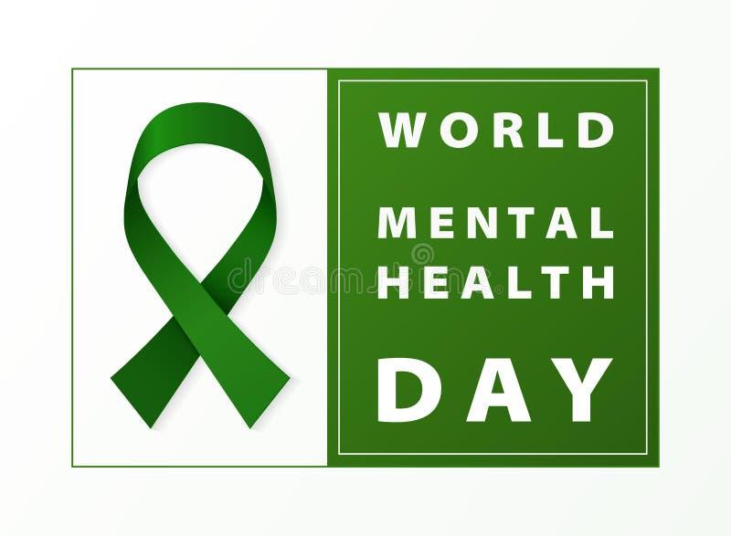 Fundo do cartão da fita do verde do dia da saúde mental do mundo Você pode usar-se para o dia de saúde de mundo o 7 de abril, anú ilustração do vetor