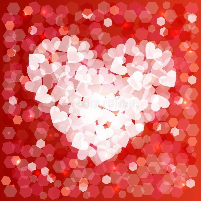 Fundo do cartão do bokeh da forma do coração do amor do dia de Valentim ilustração do vetor