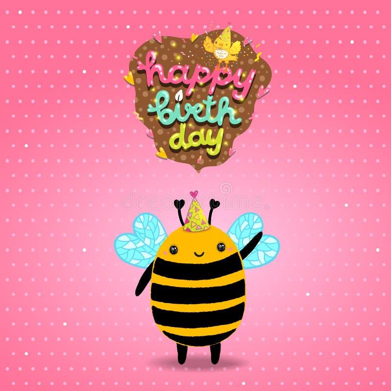 Fundo do cartão do feliz aniversario com uma abelha ilustração do vetor
