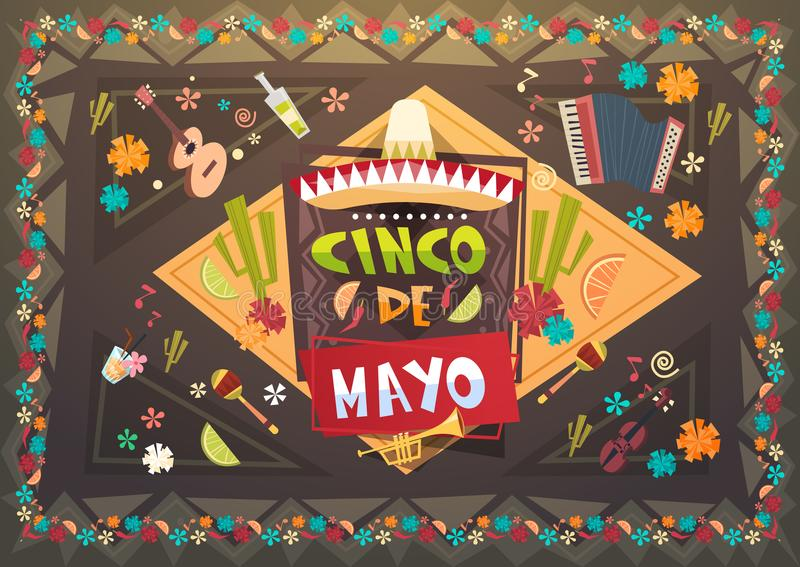 Fundo do cartão do feriado de Cinco De Mayo Festival Background Mexican ilustração stock