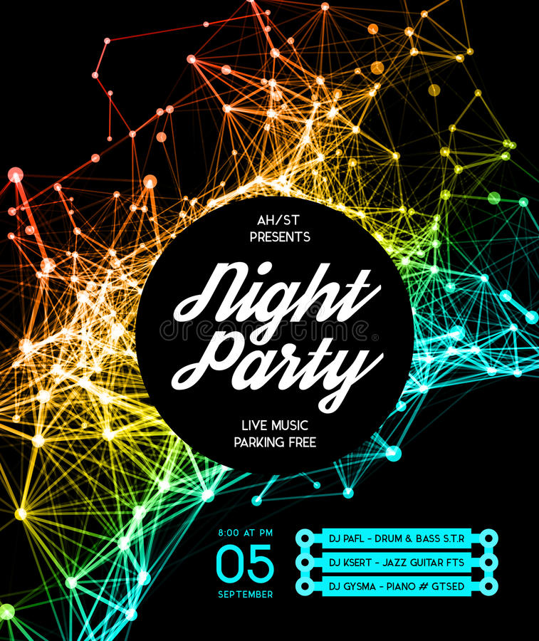 Fundo do cartaz do partido de disco da noite ilustração do vetor