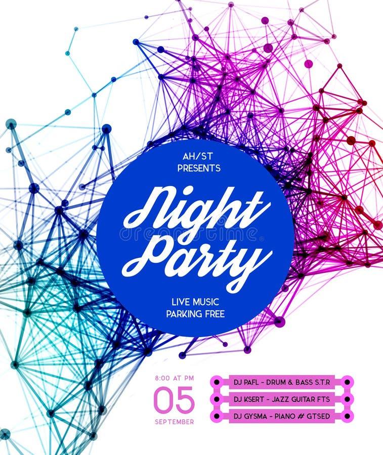 Fundo do cartaz do partido de disco da noite ilustração stock