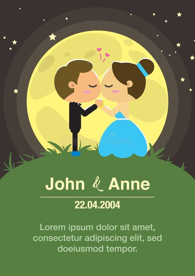 Fundo do casamento Os noivos beijados à vista da Lua cheia ilustração do vetor