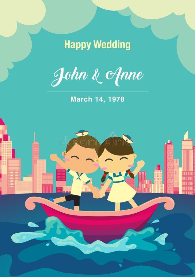 Fundo do casamento Os pares felizes no barco com fundo da cidade ilustração stock