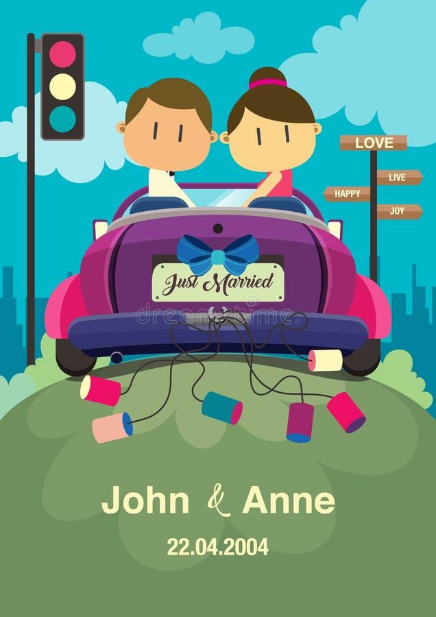 Fundo do casamento Os pares que montam um carro ilustração royalty free