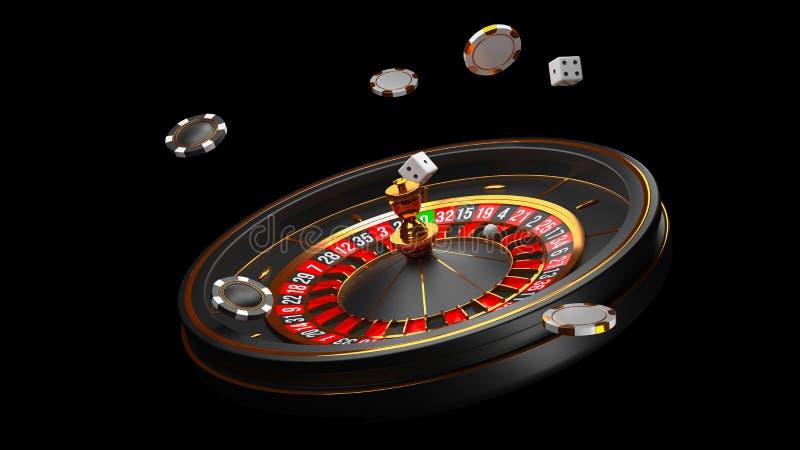 Fundo do casino Roda de roleta luxuosa do casino isolada no fundo preto Tema do casino Casino branco do close-up ilustração stock
