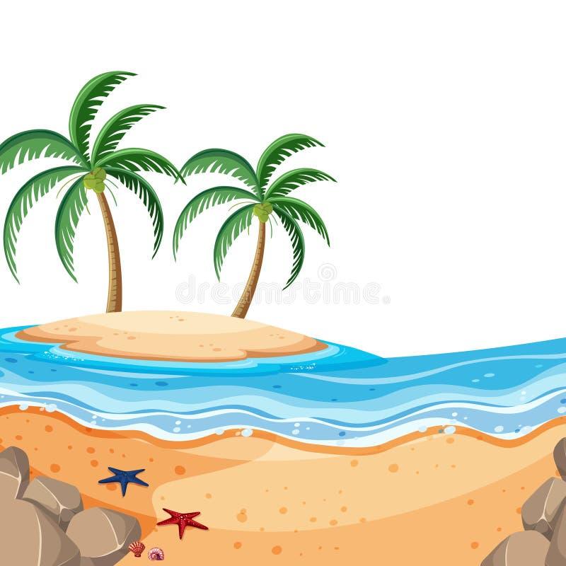Fundo do cenário do mar e da ilha azuis ilustração royalty free