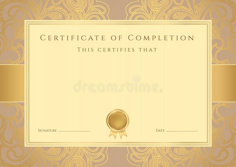 Fundo do certificado/diploma (molde). Teste padrão ilustração royalty free