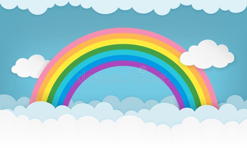 Fundo do cloudscape dos desenhos animados com nuvens e o arco-íris de papel Papel de parede nebuloso da paisagem ilustração royalty free