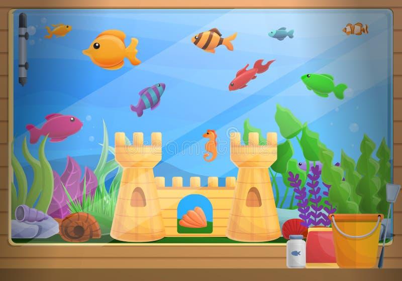 Fundo do conceito do aquário da casa, estilo dos desenhos animados ilustração stock