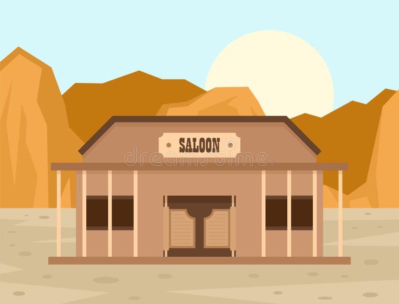 Fundo do conceito do bar de Texas, estilo liso ilustração do vetor
