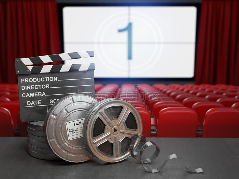 Fundo do conceito do cinema, do filme ou da vídeo caseiro Carretéis de filme e c ilustração stock