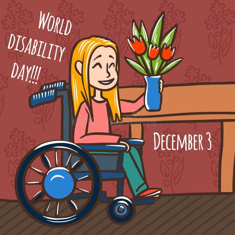 Fundo do conceito da cadeira de rodas da mulher do dia da inabilidade do mundo, estilo tirado mão ilustração stock