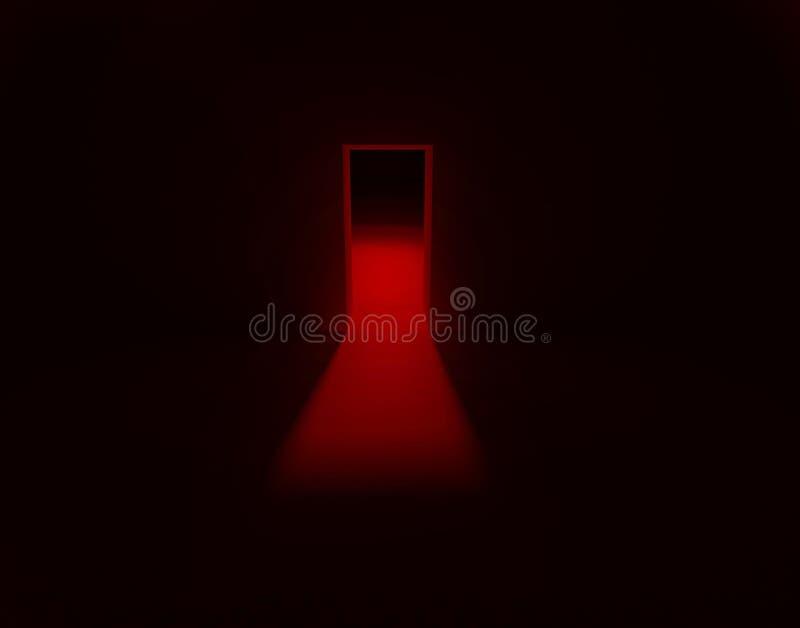 fundo do conceito da luz vermelha da porta ilustração royalty free