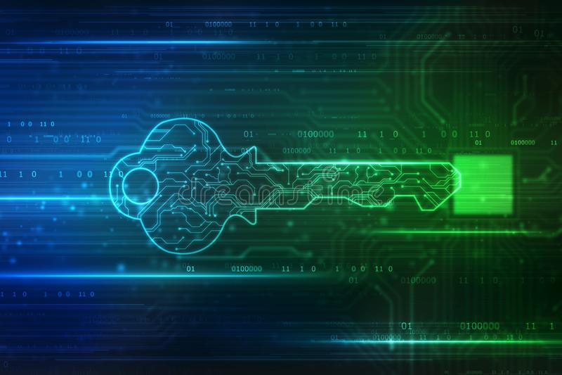 Fundo do conceito da segurança, conceito da segurança do cyber ou chave privada, chave digital abstrata no fundo da tecnologia, e ilustração do vetor